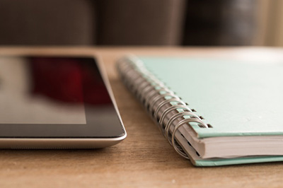 notebook and iPad